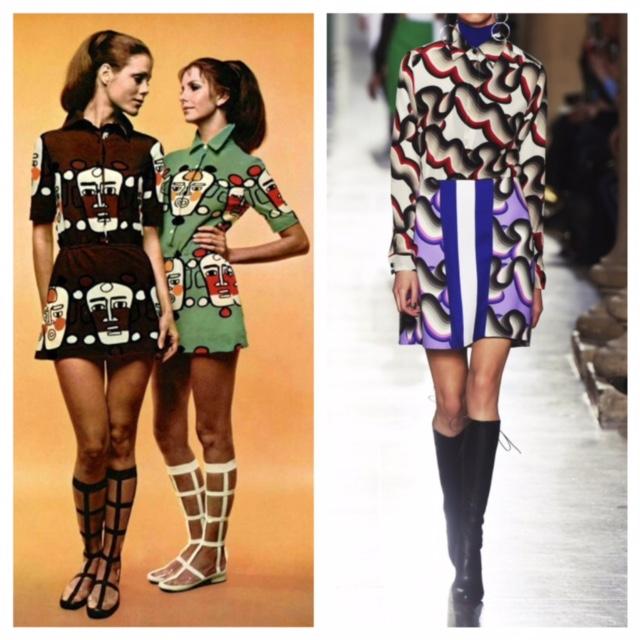 Moda anni '70 abiti con motivi grafici